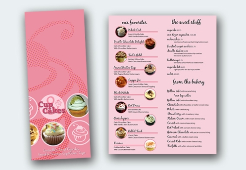 Cups and Cakes Menu